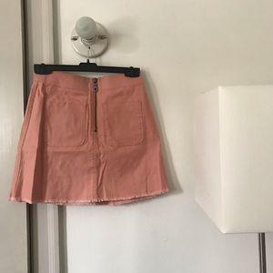 NWOT Madewell pink denim skirt zipper mini jean